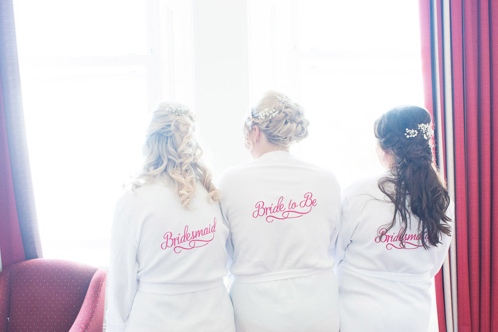 bride and bridesmaids dressing gowns at the Headland Hotel Torquay