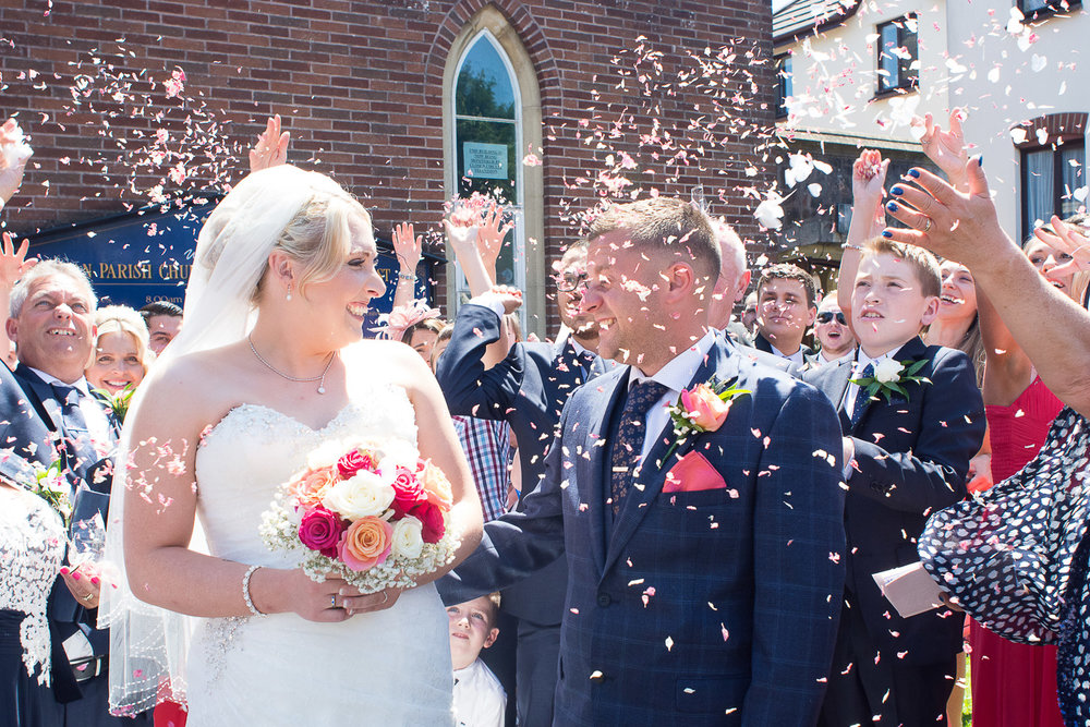 confetti outside the church in torquay devon