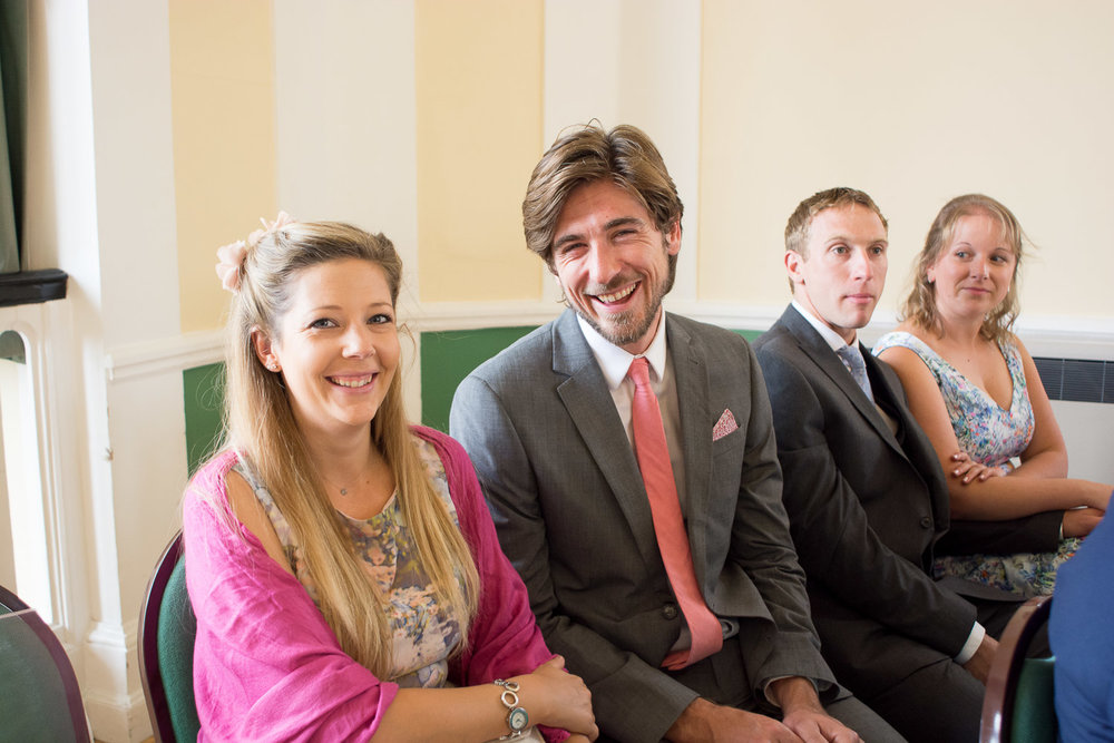 smiling wedding guests at lutterworth town hall
