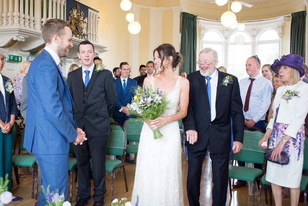 bride and groom first set eyes on eachother at lutterworth town hall