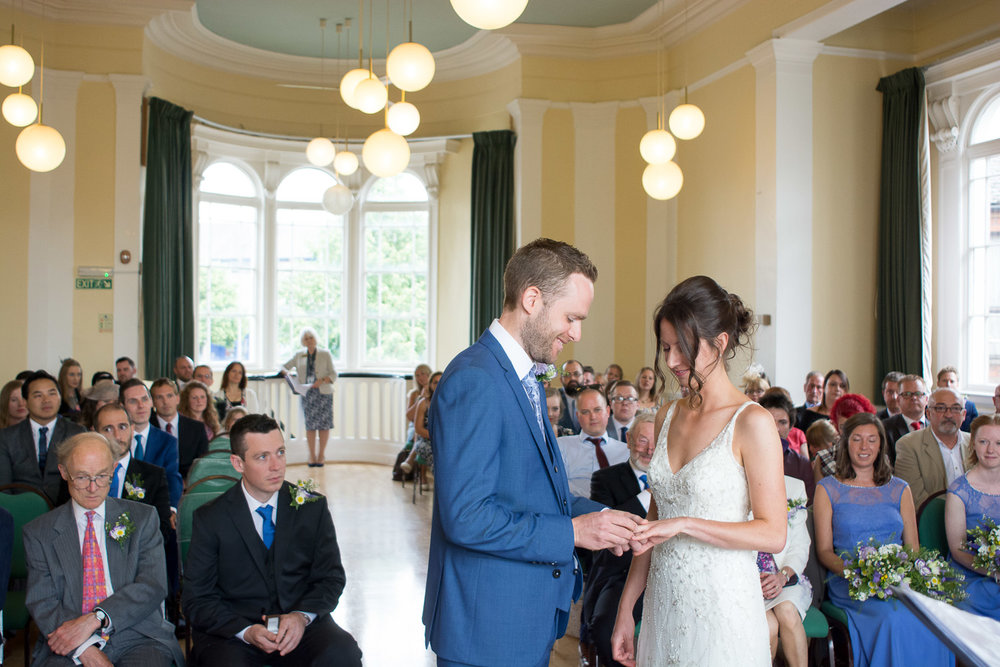 exchanging rings at lutterworth town hall