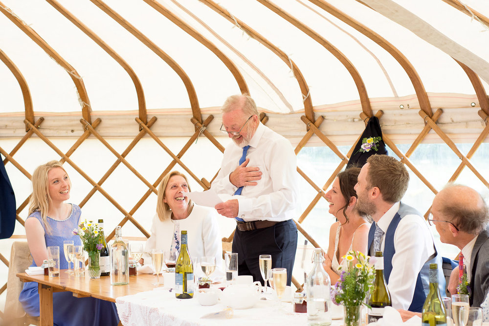 father of the bride speech at wedding yurts wedding in leicestershire