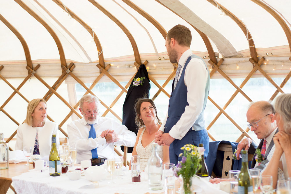 grooms speech at wedding yurts wedding in leicestershire