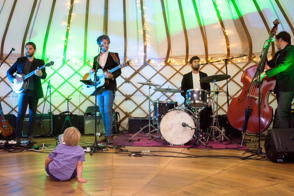festival sons soundcheck at wedding yurts wedding in leicestershire