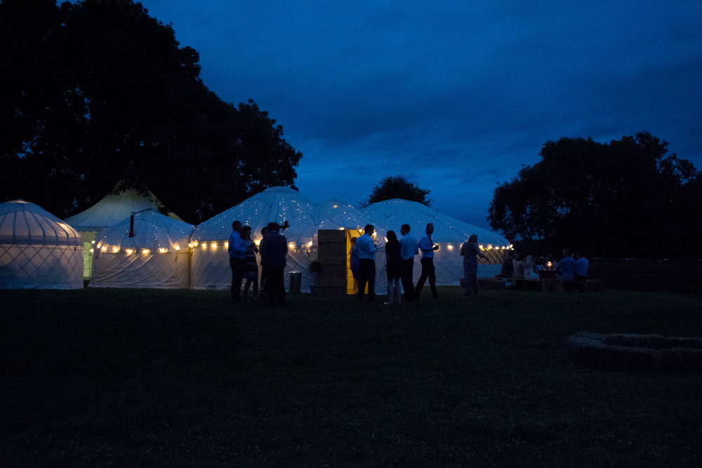 wedding yurts outside at night time at wedding yurts wedding in leicestershire