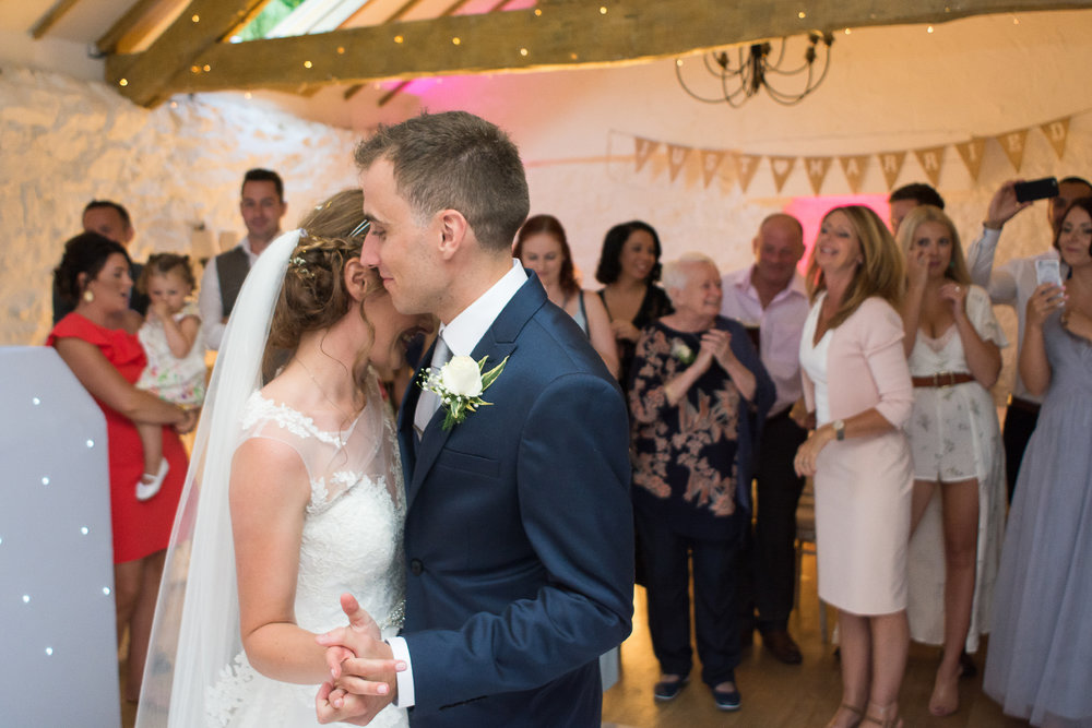 bride and groom first dance at the Bickley Mill in Devon