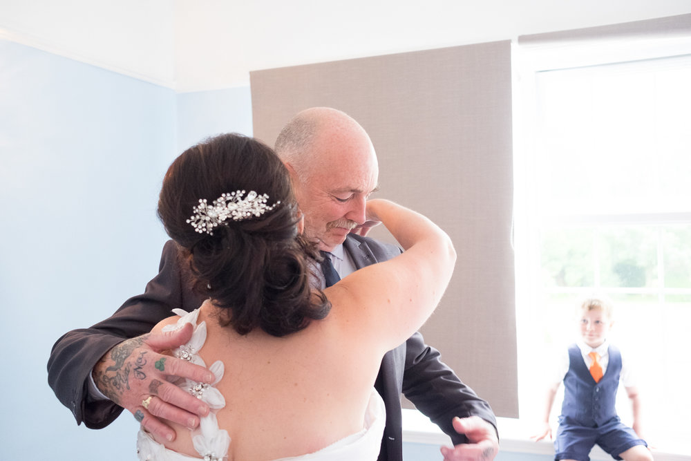 emotional reaction from the father of the bride at The Lord Haldon Hotel in Devon
