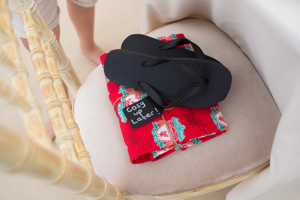 a wedding favour of pj's and flip flops to cosy up and relax in the evening