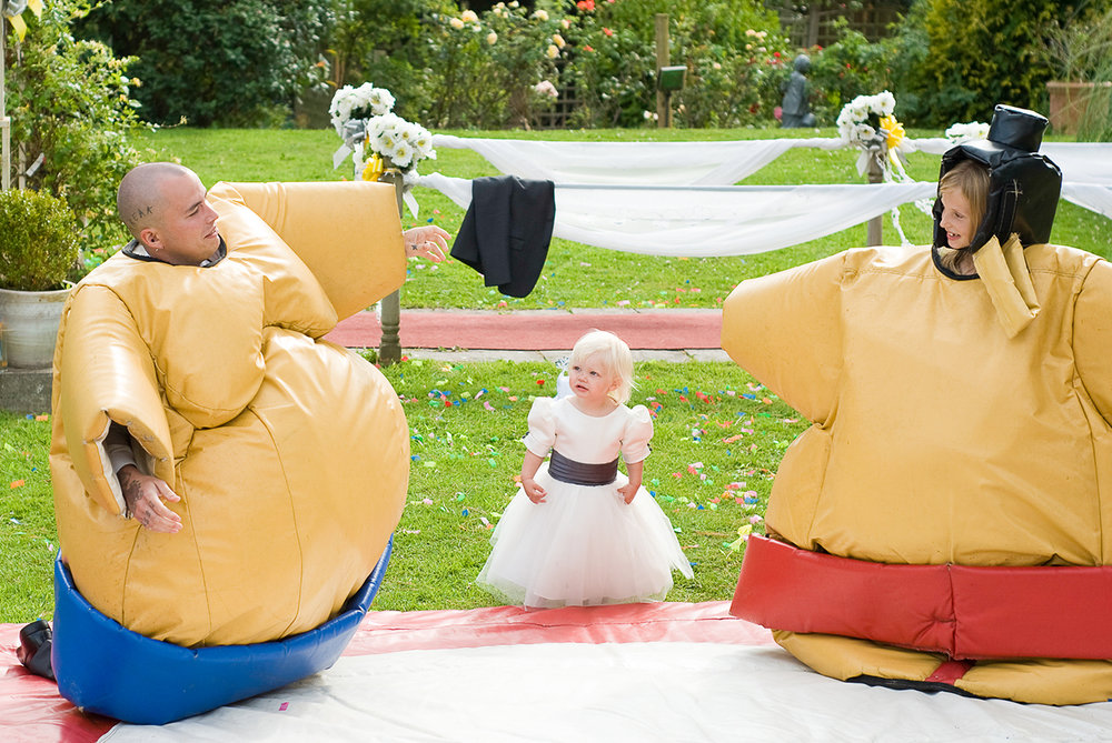 Sumo suits at Lavender House Hotel Wedding in Devon
