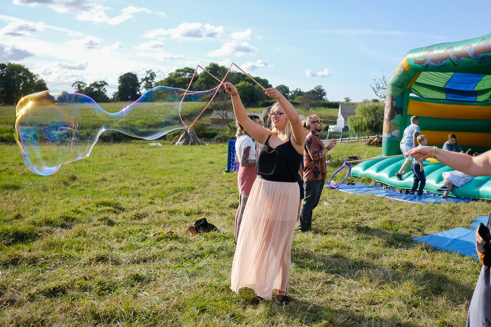 Giant Bubbles at Festival wedding in Exmouth