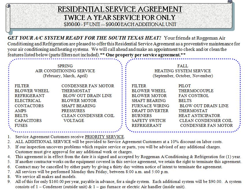 Residential Service Agreement — Roggeman Air Conditioning