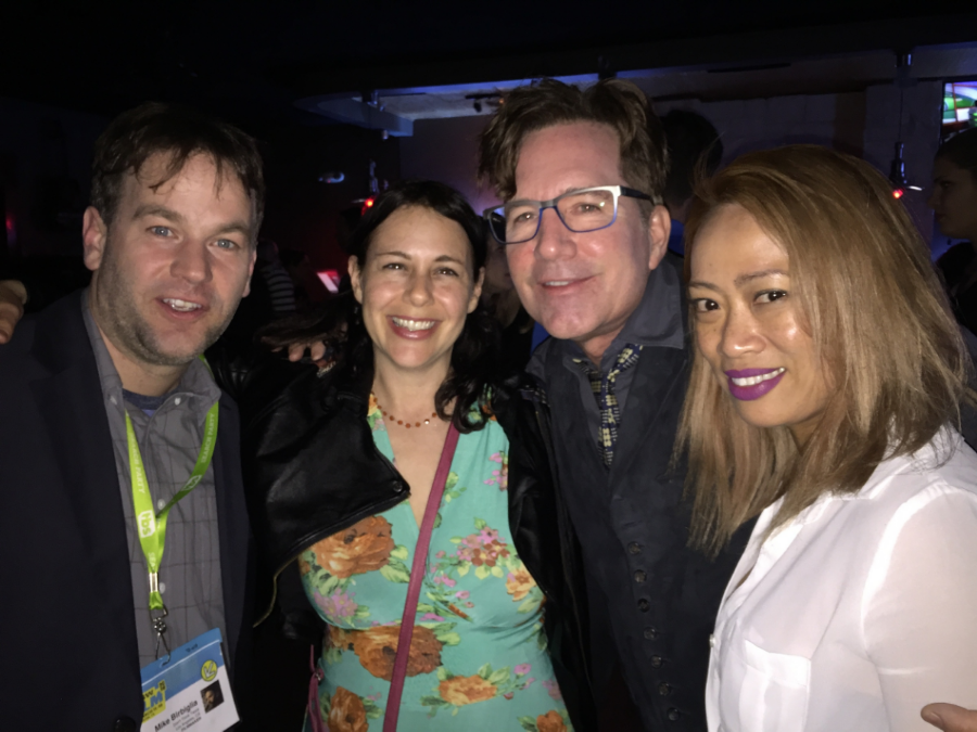 Roger and Elmalie with Mike Birbiglia and his wife, Jen Stein, who is also a producer on the movie at the Don't Think Twice premiere afterparty