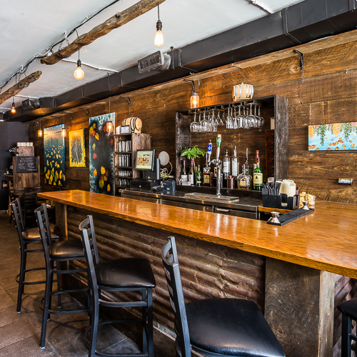 Interior design, setting, ambiance, environment and atmosphere at the bar and restaurant H Bar in Toronto