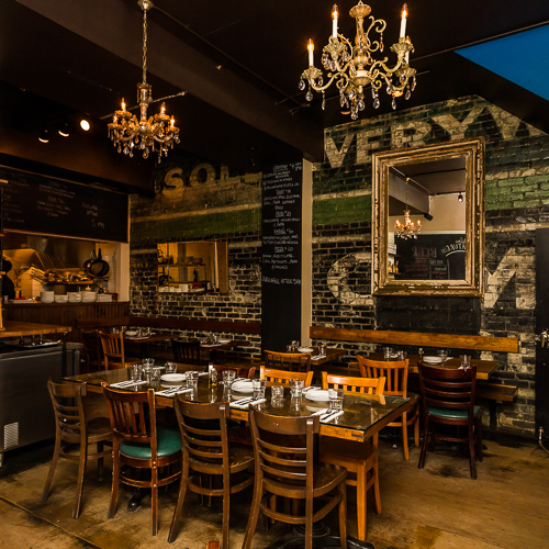 Interior design, setting, ambiance, environment and atmosphere at the restaurant Lil Baci in Toronto