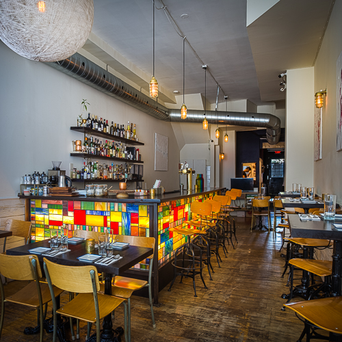 Interior design, setting, ambiance, environment and atmosphere at the restaurant Nuit Social in Toronto