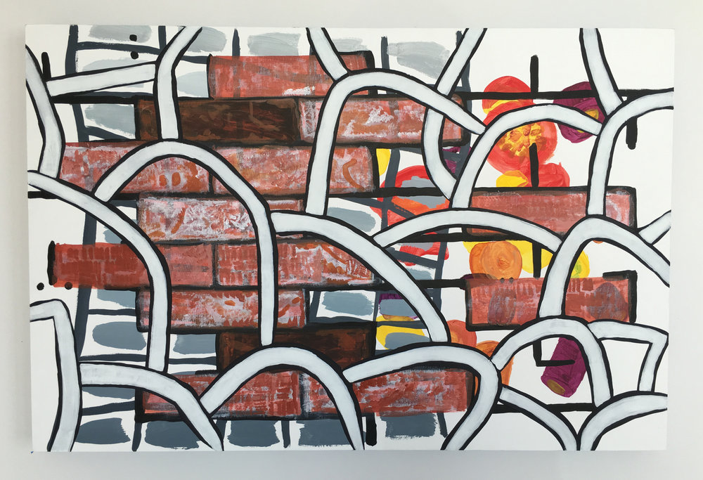 Painting combining submitted patterns from bricks, stones, and rainbow carrots, image courtesy Carey Lin and Irving Street Projects