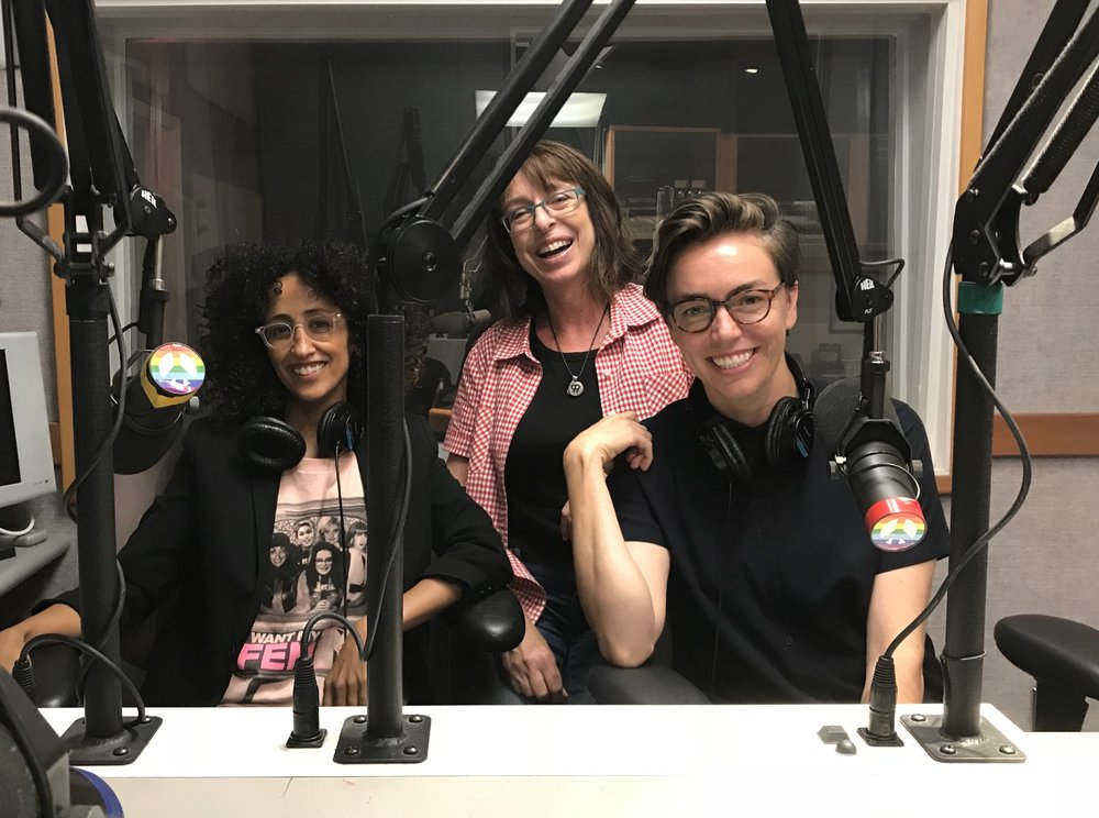At KPFK in Studio City with the host of Feminist Magazine Radio, Lynn Harris, and Sarah Williams, Managing Director of the Women's Center for Creative Work