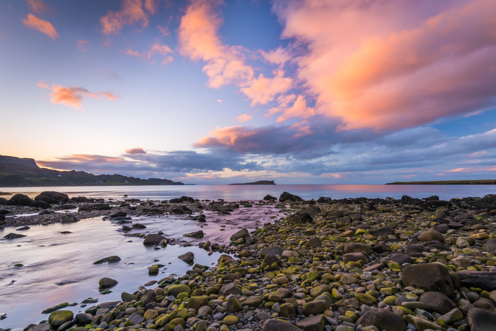 Staffin Bay after sunset
