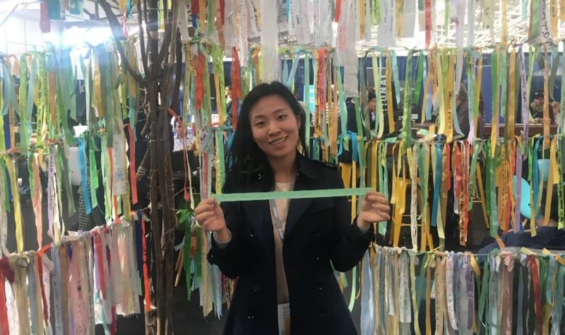 Yuni from Seoul displays her ribbon at SOCAP18