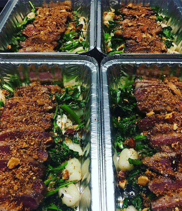Smoked duck ham, gnocchi, ricotta, watercress, and honey almond gremolata #preparedmeals  #rvadine #eatwithusathome