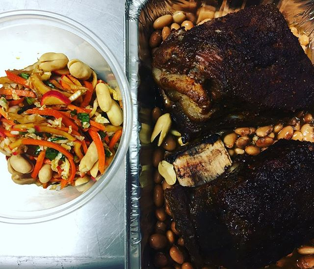 BBQ beef ribs, Asian style slaw, peanuts, pinto beans
