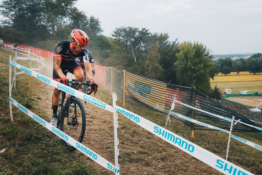 Getting ready for the off camber descents of mt. krumpit at the 2017 UCI Jingle Cross cyclocross festival in iowa city.