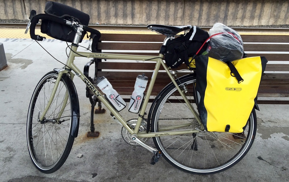 My fully loaded bike, a Surly Long Haul Trucker (LHT), waiting for a train on New Jersey transit for a short ride out of New York City to Hackettstown, NJ.