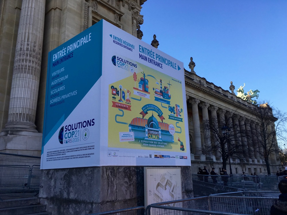 """Announcement of a """"solutions"""" exhibit at the Gran Palais. This exhibit received well deserved criticism by climate activists for its corporate approach. It was bland, self-promoting and unimaginative - and palliative. No, corporations won't save us from climate change."""