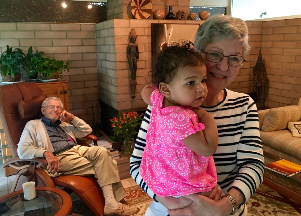 My Dad and in the background, and his wife Dawn and my granddaughter Devon in the foreground.