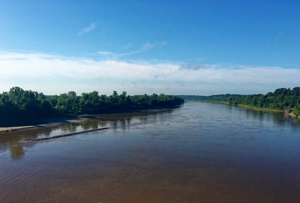 Crossing the Missouri River. Some say this river carries more water and is longer than the Mississippi.
