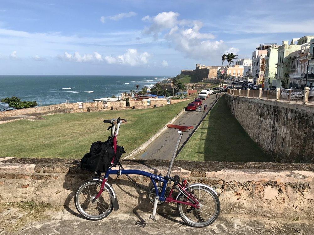 My folding bike overlooking the Atlantic in old San Juan, Puerto Rico.