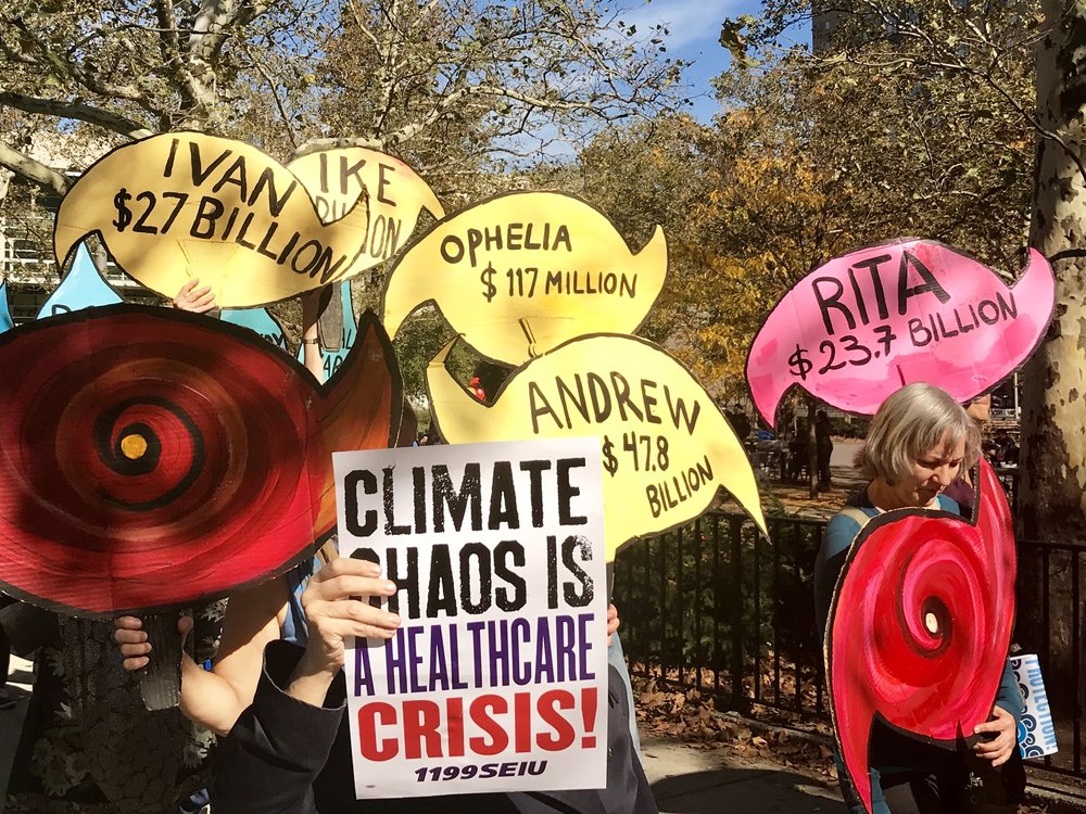 Climate March in New York City on the 5th anniversary of Hurricane Sandy.