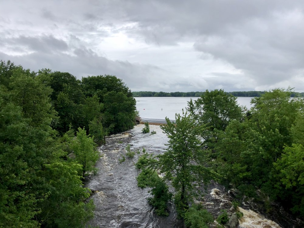The swollen Wisconsin River.