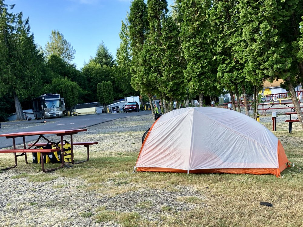 I stayed at a KOA campground (showers!) near the Mt. Saint Helen's visitor station about 40 miles south of Centralia, WA.