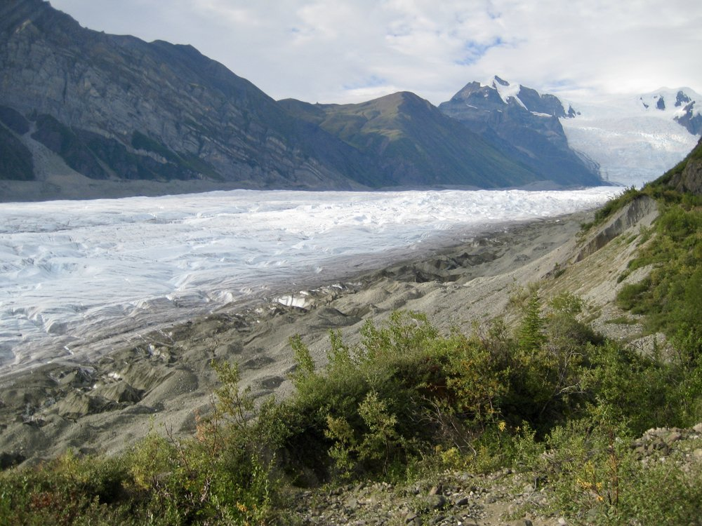 A rapidly melting glacier in Wengall/St Elias National Park in Alaska. Picture taken in 2007. The foreground is now a lake.