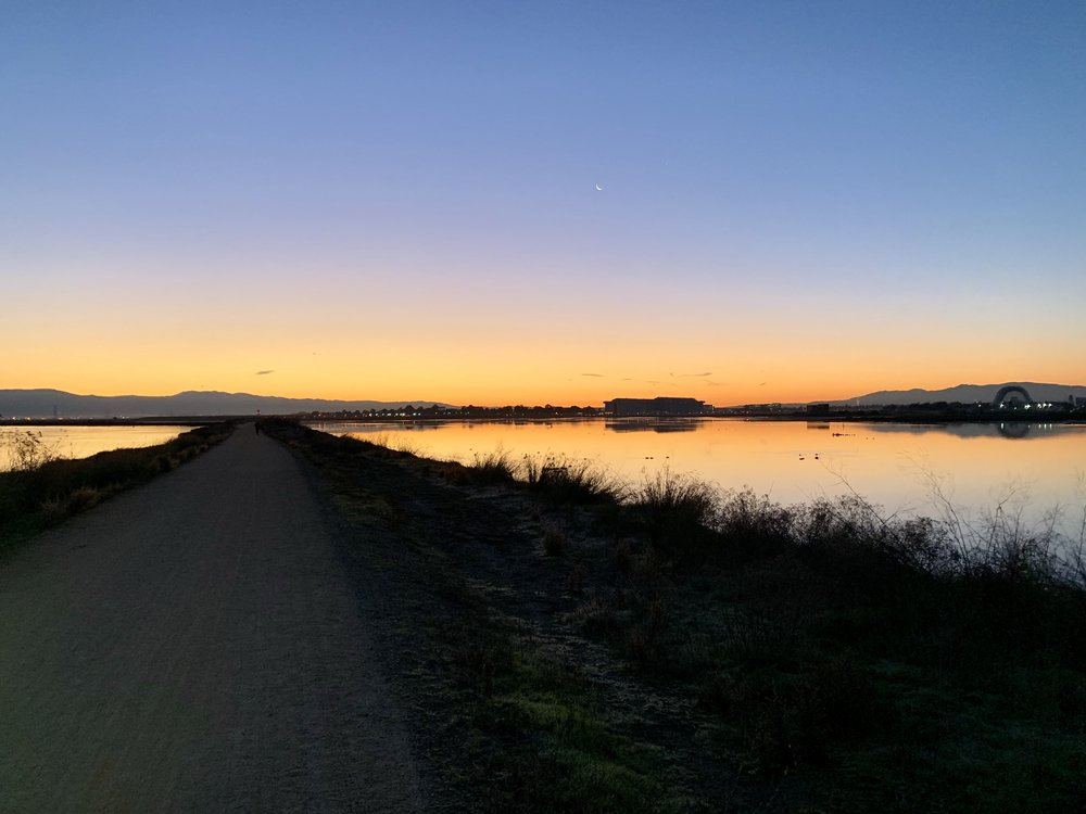 Sunrise on the Bay Area Trail, a bike trail that will eventually follow the perimeter of the entire north and south bays.