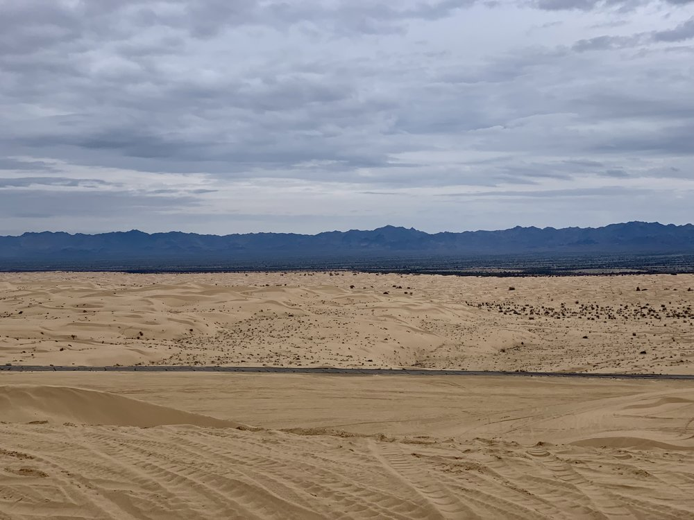I cycled the section of the Southern Tier route I am doing now between Brawley and Phoenix a few years ago. The sand dunes above loom large in my memory. The little town of Glamis, which sits right in the middle of the dunes, looks like a set in Bladerunner.