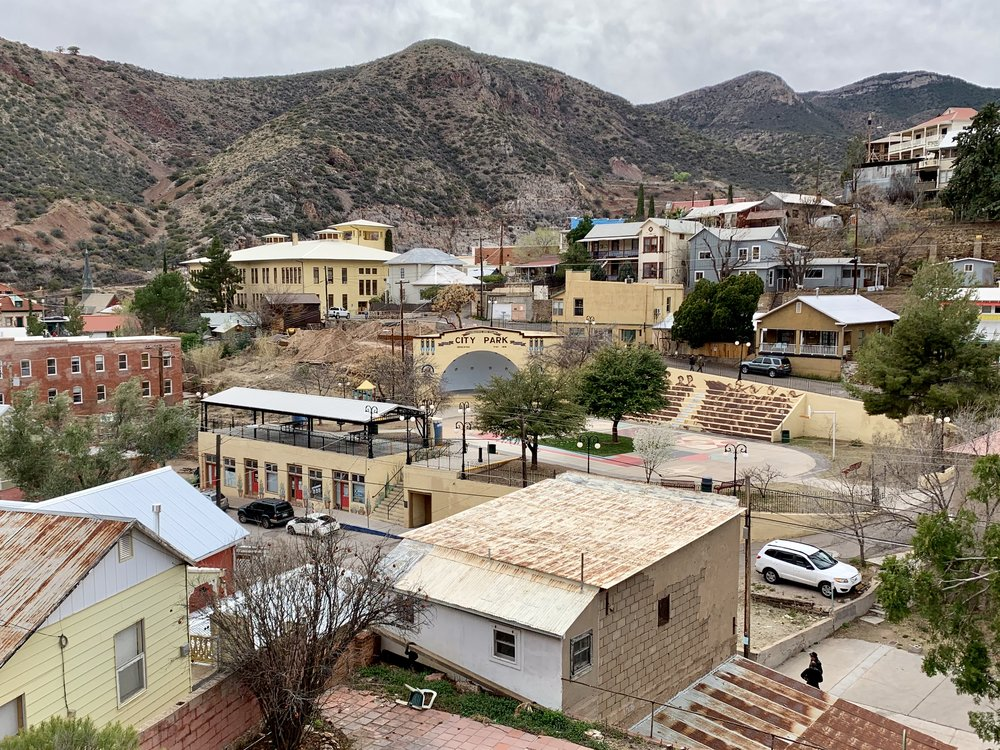 Bisbee, AZ, is an old copper mining town just west of Douglas. At one time it was the largest community in Arizona. No longer a minIng town, it is now a wonderfully funky tourist town, with early twentieth century architecture and featuring lots of festivals to attract tourists.
