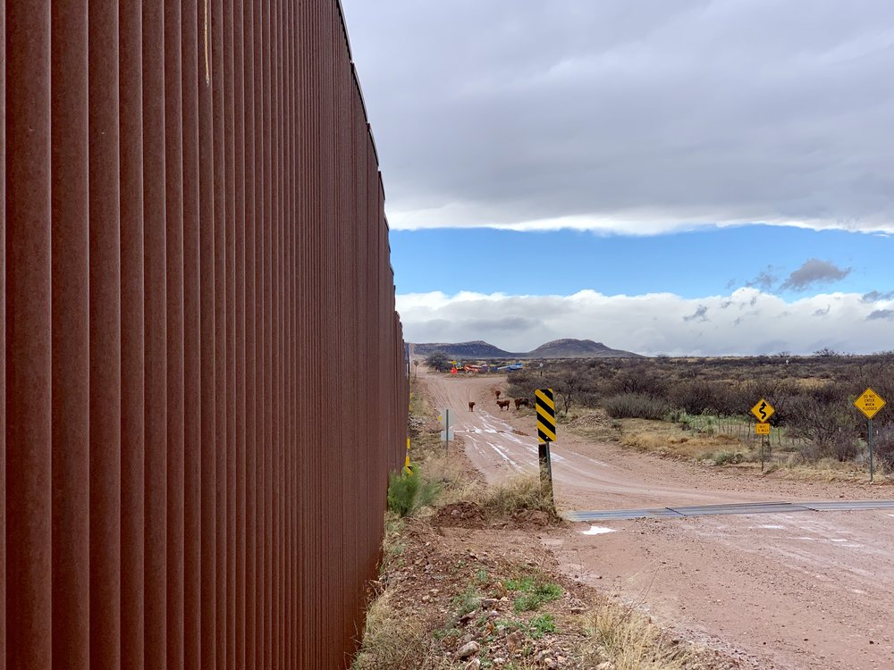 The US side of the wall looking west.