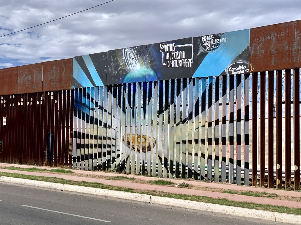 The Mexican side of the border fence.