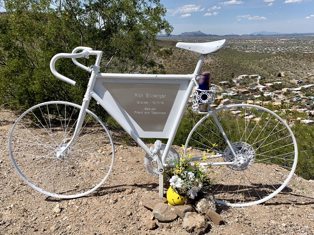 """One of my intentions, for now, is to avoid an effigy in my honor. I came across this one on """"A"""" Mountain east of Tucson."""