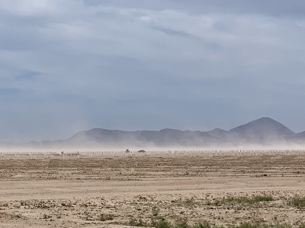 The wind stirs up dust on the way to Lordsburg.