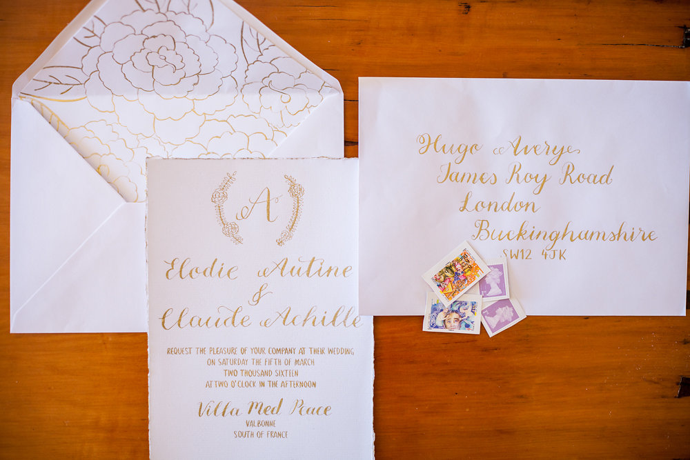 Handwritten Gold Calligraphy Invitation Suite with Hand drawn envelope liner