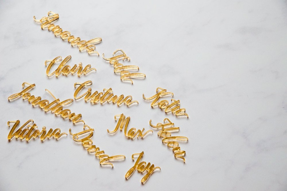 Laser cut acrylic place names