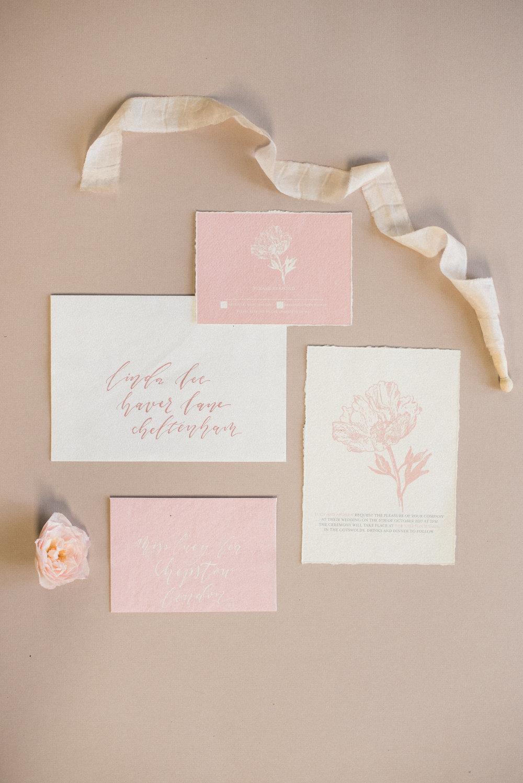 Modern minimalist peony invitation