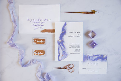 Minimalist watercolour copper leaf fine art invitation