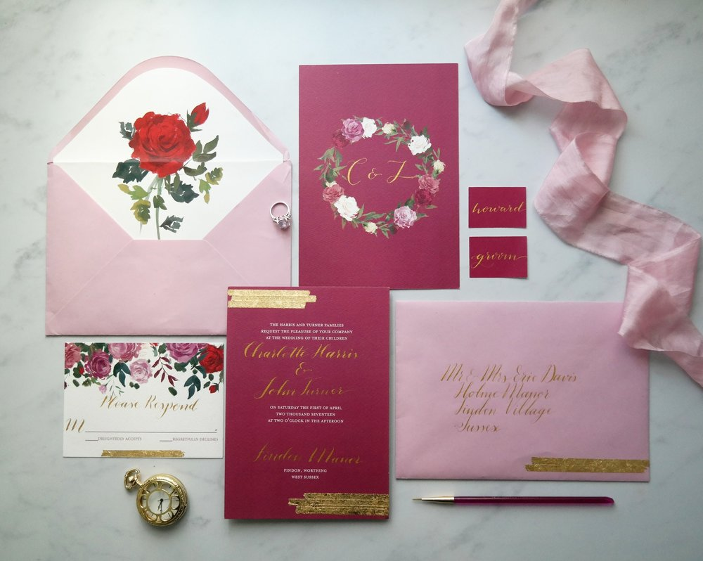 Jewel Toned floral invitation with gold leaf