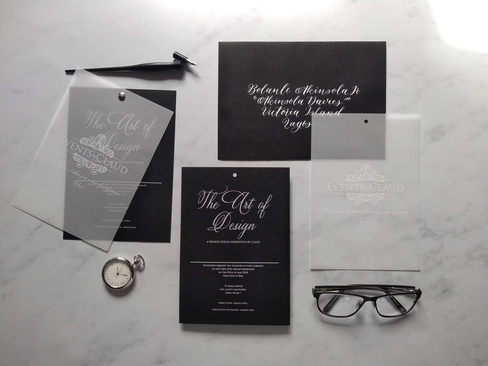 Modern monochrome vellum invitation