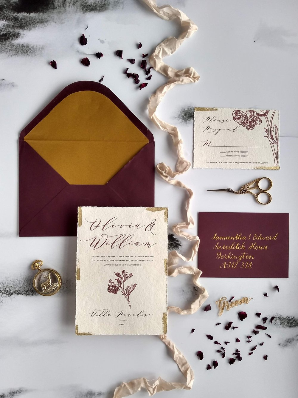 Modern calligraphy fine rt invitation