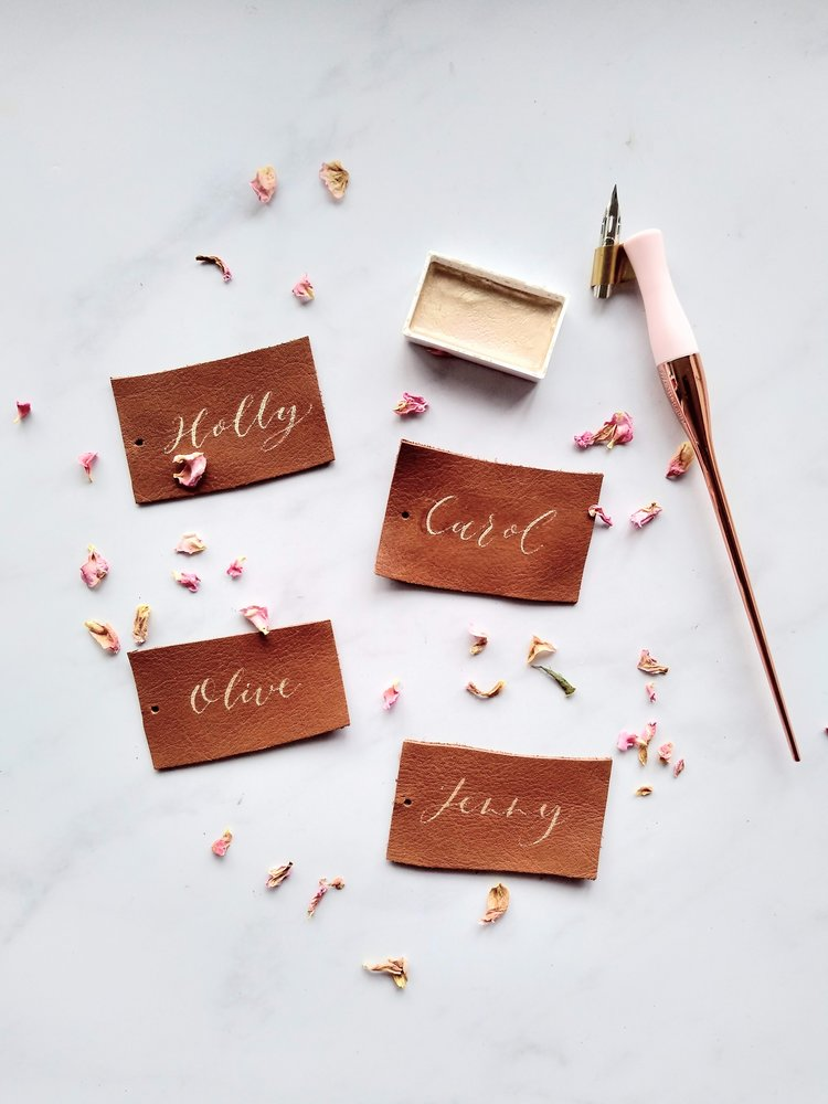 Leather Calligraphy Place Cards with Gold Ink by Studio Oudizo, Cheltenham